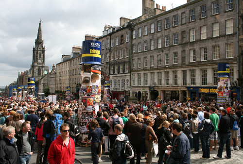 Busy festival crowds on Edinburgh's Royal Mile